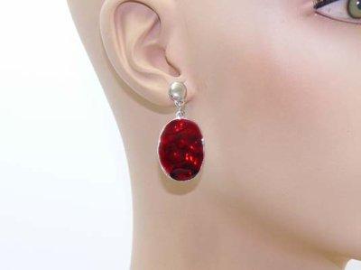 Une paire de boucles d'oreilles émail sur métal argenté