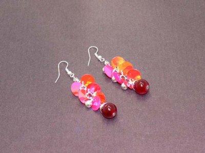 Boucles d'oreilles  perles et pampilles nacrées