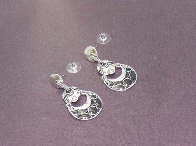Boucles d'oreilles argentées émail