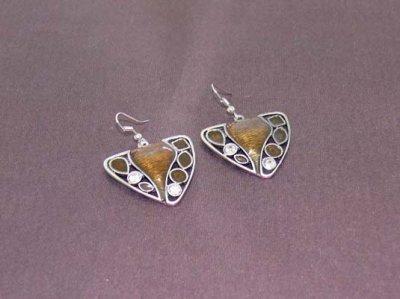 Boucles d'oreilles émail strass blancs métal argenté ton mat pendants longueur 30 mm