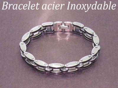 Bracelet acier inoxydable et silicone