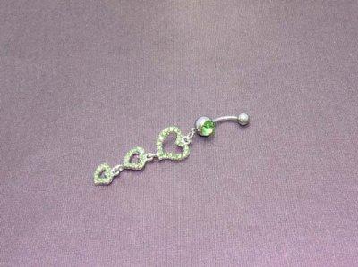 Piercing nombril acier chirurgical 316L et strass motif 3 coeurs