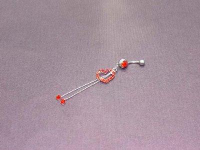 Piercing nombril acier chirurgical 316L et strass motif coeur