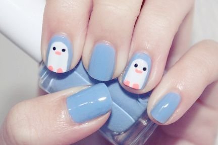 Nail Art pingouins.