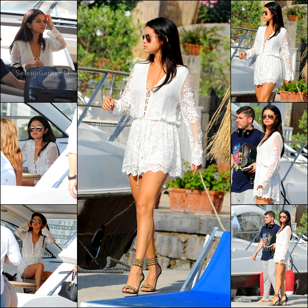 """20.07.14 : Selena a été photographiée quittant son hôtel le """"Della Regina Isabella"""" par bateau, à Ischia en Italie. Je trouve Selena magnifique, j'adore sa tenue. TOP pour ma part. Vos avis ?"""