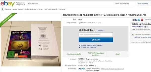 Une New 3DS Zelda Majora's Mask 3D à 50 000 euros sur eBay
