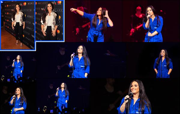 """"""" • 09/02/18   — Notre sublime chanteuse Demetria Lovato à donné un concert privé situé dans la ville de Dallas au Texas !C'est après un court séjour au Ski que nous retrouvons D' à nouveau sur scène, elle à l'air totalement ravie. J'aime les deux tenues, tops.  """""""