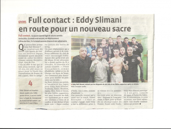 Eddy NAIT SLIMANI en route vers un nouveau sacre