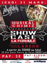 """Pour la sortie de l'album de Musikal 'chimie """" LA formule"""" Concert ce jeudi 31 Mars a 20 h venez nombreux !!!"""