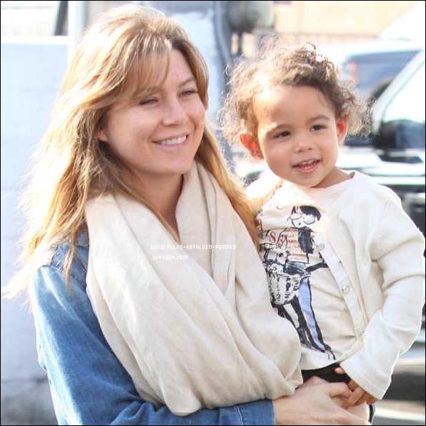 Le 07 Janvier 2012 - Ellen plus belle et heureuse que jamais et sa fille Stella sur un parking de Beverly Hills, a Los Angeles.