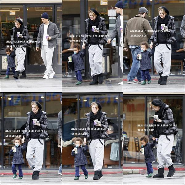 """Le 21 Janvier 2012 - Ellen et la petite Stella allant acheter un café au """" Coffee Bean"""" à Los Angeles. ."""
