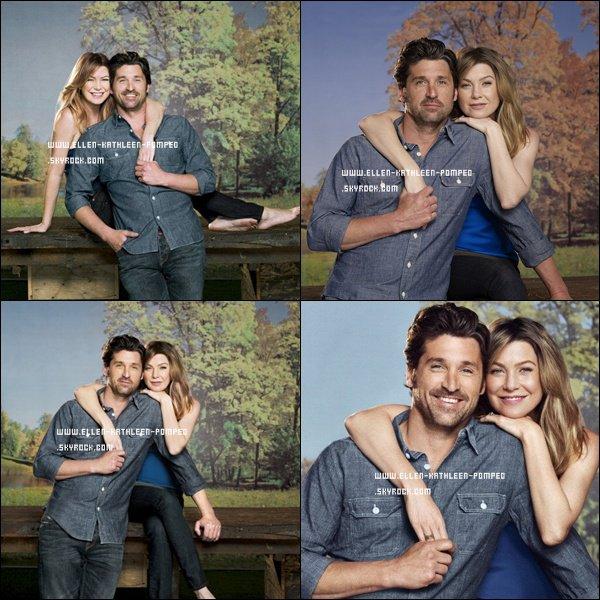 Ellen Pompeo et Patrick Dempsey posant ensemble pour un photoshoot.