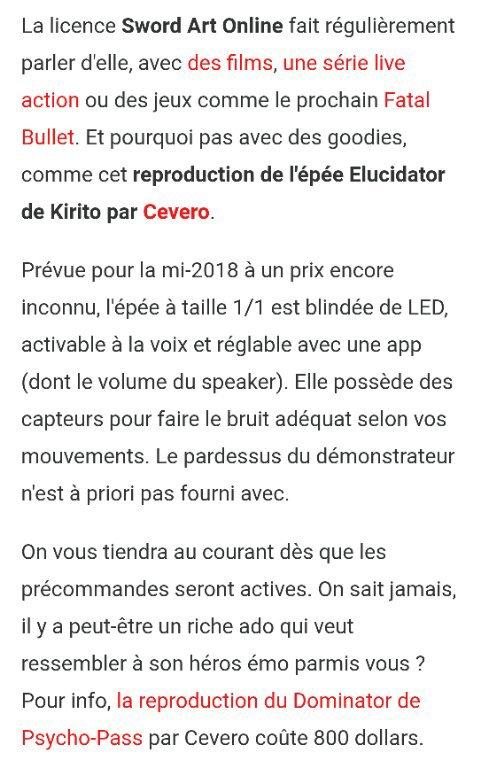 ~NEW~ ▪SAO L'ÉPÉE DE KIRITO▪