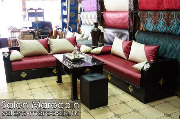 Salon marocain en cuir 2014 top salons morocain decoration moderne - Salon marocain capitonne cuir ...
