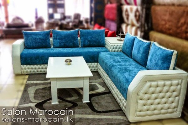 salon marocain moderne bleu blanc 2014 - Salon Moderne Algerien