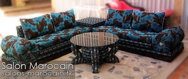 Salon Marocain Moderne Bleu Noir