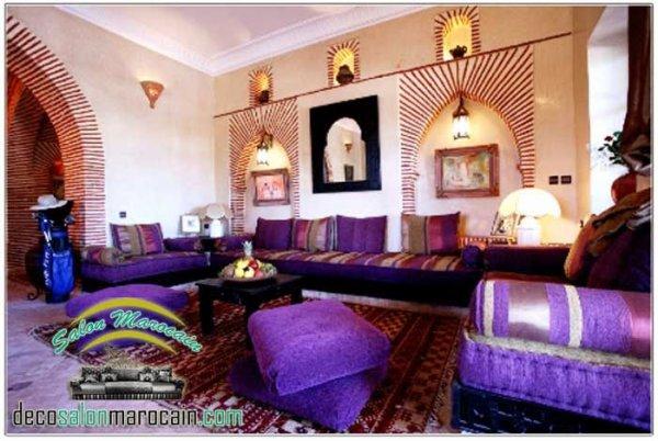 Salon Marocain Mauve Luxueux