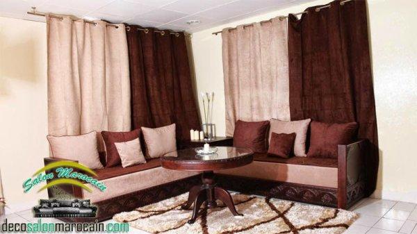 salon marocain moderne beige marron - Salon Marocain Beige Et Marron