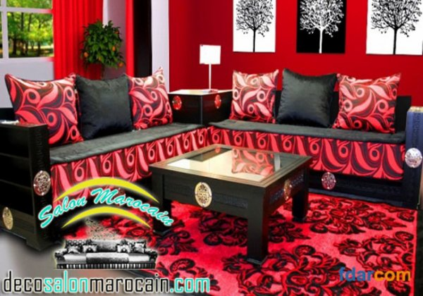 Salon Marocain Rouge Foncé