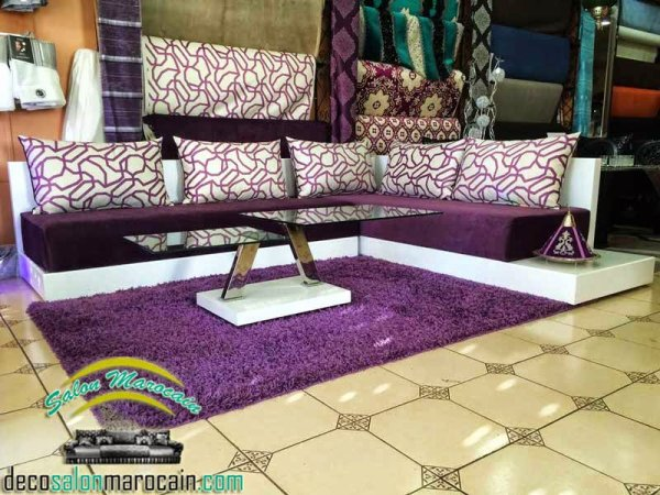 Salon marocain zeina mauve 2015 - Top Salons Morocain Decoration Moderne