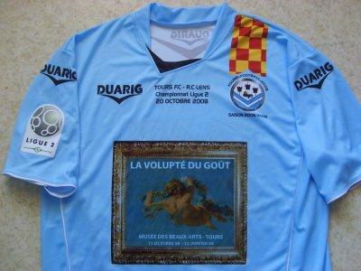 """Maillot collector """"domicile"""",  porté par le FC TOURS en Ligue 2, lors de la saison 2008/2009, pour commémorer la rencontre face à Lens, le 20 Octobre 2008."""
