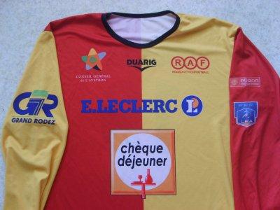 """Maillot """"domicile""""  porté par le club Aveyronnais de Rodez, en Championnat de France de National, lors de la saison 2007/2008."""