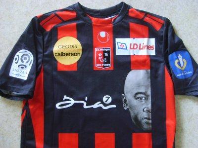"""Maillot """"domicile"""" porté par Frédéric Da Rocha à Boulogne/mer, en Ligue 1, lors de la saison 2009/2010."""