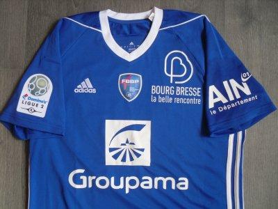 """Maillot """"domicile"""", porté en Ligue 2 par Jimmy NIRLO, à Bourg-péronnas, lors de la saison 2017/2018."""
