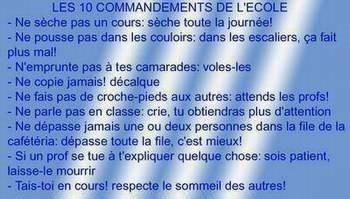 Les 10 Commandement de L'école