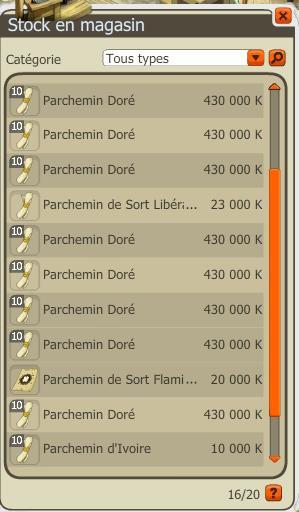 Commande de parchemin dorée