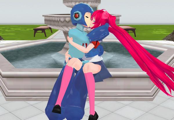 Moi et Megaman qui s'ambrasse assie sur la fontaine