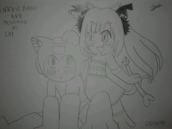 Inkyu Basu et Megaman en chat