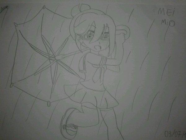 Mei Mio avec son parapluis
