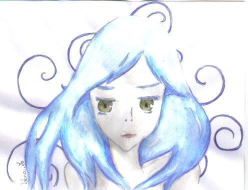 fille bleu
