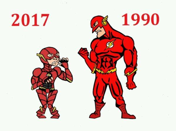 the flash 2017 vs the flash 1990 - ezra miller vs John Wesley shipp
