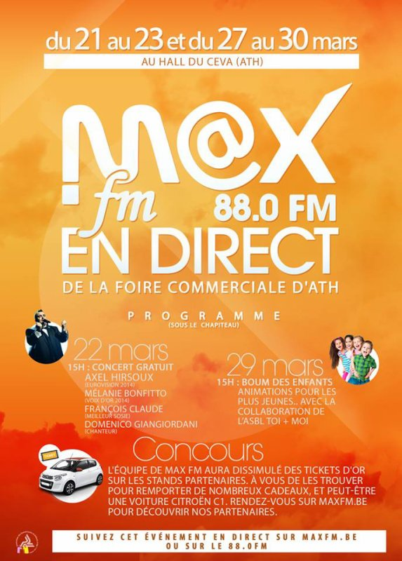 Radio M@xfm en direct de la Foire Commerciale d'Ath, le 22 mars 2015 à 15h