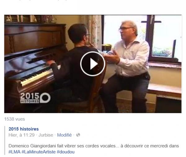 """TéléMb, """"La minute de l'artiste  -  Domenico Giangiordani"""", le 2 décembre 2015"""