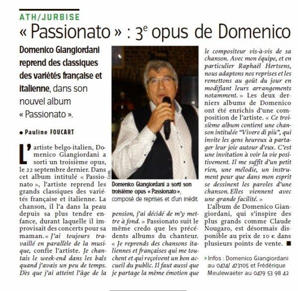 "Sortie du troisième CD de Domenico ""Passionato""!"