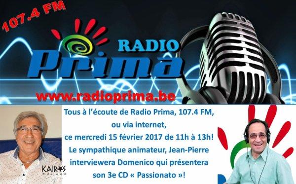 Montegnée (Liège), Radio Prima, 15 février 2017 de 11h à 13h