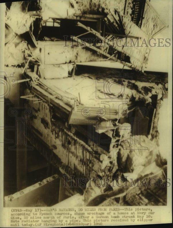 Bombardement de la Luftwaffe et une villa de Méry sur Oise après le bombardement Allemand du 10 Mai 1940