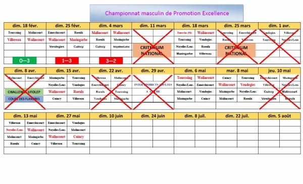 Mise à jour du calendrier (04/03/2018)