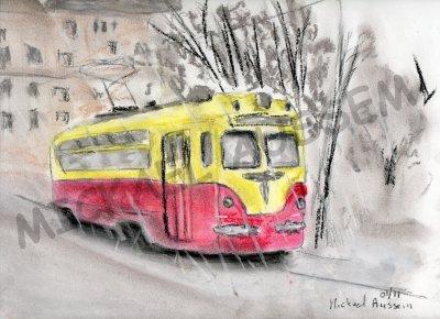 "TRAM 1960  ""craie pastel 17.01.2011"""