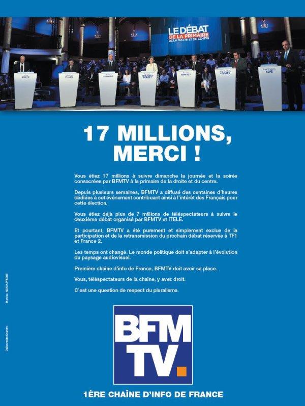 Primaire : privée de débat, BFM TV vante ses audiences !...