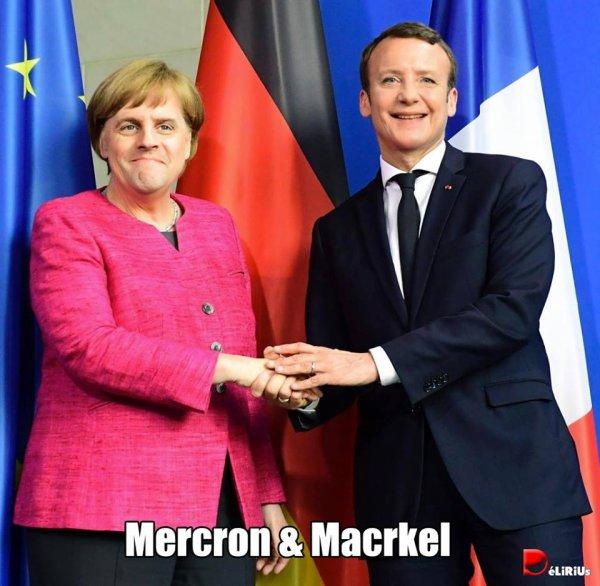 """Spécial """"La chancelière allemande Angela Merkel et le président français Emmanuel Macron à Berlin... - Image n° 2/2 !..."""
