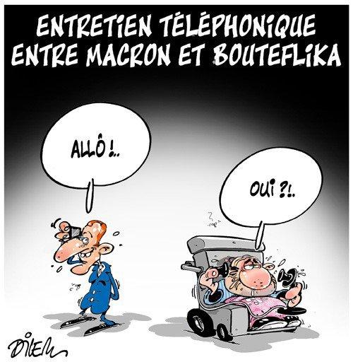 """Spécial """"BOUTEFLIKA S'ENTRETIENT AVEC MACRON AU TÉLÉPHONE..."""" - Image n° 2/2 !..."""