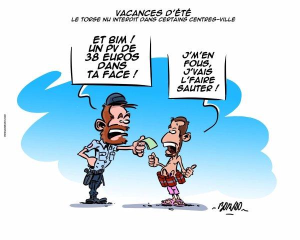 """Spécial """"CANICULE : A-T-ON LE DROIT DE SE PROMENER TORSE NU EN VILLE ?..."""" - Image n° 2/2 !..."""