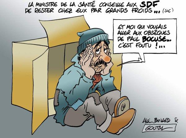"""Spécial """"Grand froid : la secrétaire d'Etat à la Santé conseille aux SDF d'éviter de sortir... de chez eux..."""" - Image n° 3/3 !..."""
