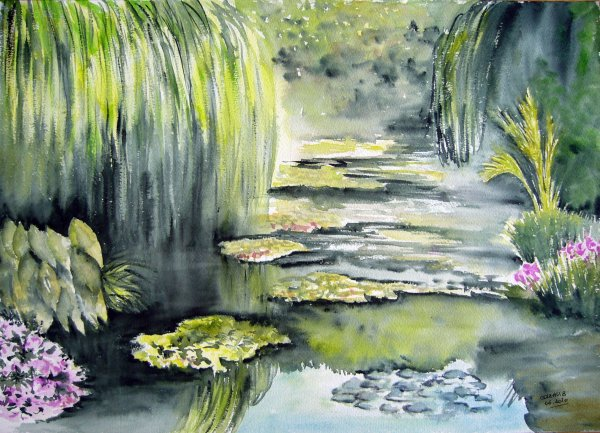 Aquarelle jardin de giverny brigit 39 mania for Artistes de jardin