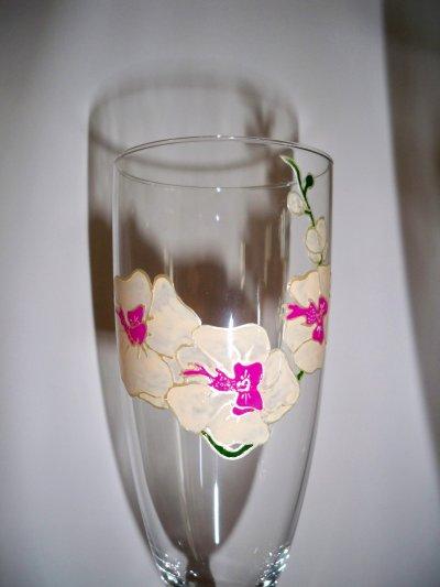 service de flutes à champagne orchidée