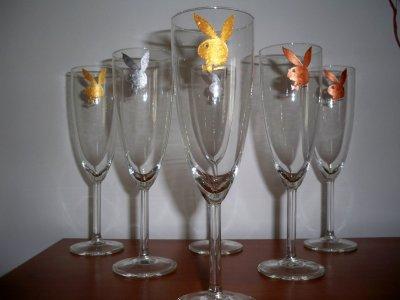 service de flute à champagne lapin play boy